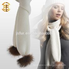 Подлинный Raccoon Fur Pompom Plain Wool Crochet Scarf для Lady