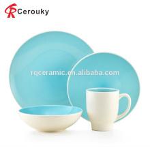 Eco-friendly reutilizáveis azul e branco esmalte cerâmica jantar conjunto de grés
