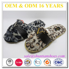 Fashion leopard printed woman sexy indoor open toe slipper