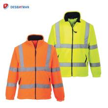 Salut veste en molleton de sécurité doublée sécurité ANSI classe 3 travail réfléchissant avec poches et fermeture à glissière avant