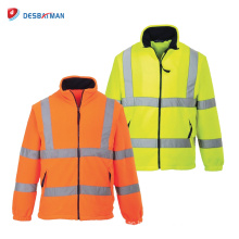 Hi Vis Fleece Jacket Safety Lined ANSI Class 3 Reflective Work Coat with Pockets and Front Zipper