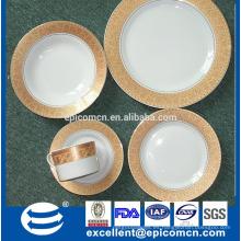 Hight calidad oro real diseño 20 piezas rond cena de cerámica conjunto vajilla de porcelana