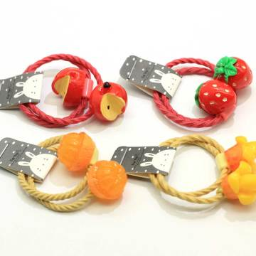 Nuevo Kawaii Baby Elastic Hair Band Strawberry Orange Apple Mango Fruit Decoration Elastic Hair Tie Titulares de cola de caballo
