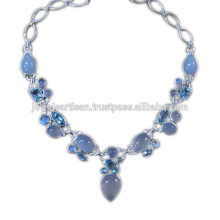 Chalcedony And Multi Gemstone 925 Sterling Silver Necklace Jewelry