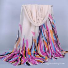 Écharpe en gros à rayures colorées voile hijab