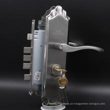 Porta Entery Lockset de aço inoxidável com cilindro de perfil euro e conjunto de alça de bloqueio de chaveta