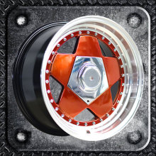 Alloy wheels with rivets and two step lips big caps