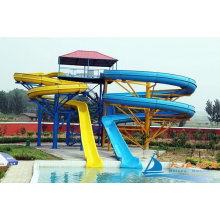 Custom Aqua Play Equipment Outdoor Twin Amusement Park Water Slides For Adults