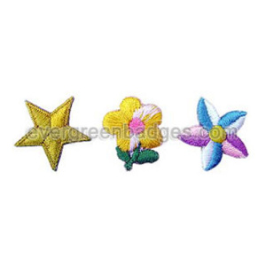 Piccolo Star e fiori 3D ricamo Badge