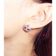 Earrings Bling Rhinestone Cute Bohemia Mask Mini Flower Design – 1 Pair