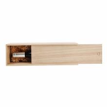 Caixa de vinho de madeira inacabada de madeira de pinho com tampas de corrediça