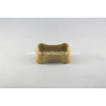 Special bone shape bamboo fiber dog bowl