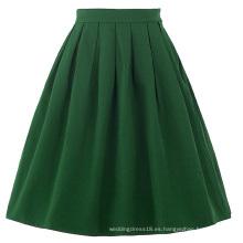 Belle Poque Mujeres Midi Verde Oscuro Vintage Retro Faldas BP000154-4