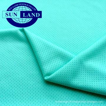 Tissu en polyester à mailles d'argent antibactérien à séchage rapide, 100 polyester
