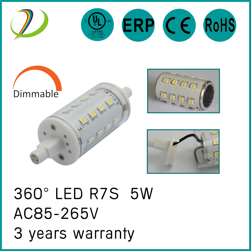 5w R7s LAMPE 78mm Dimmable Led 360 degrés