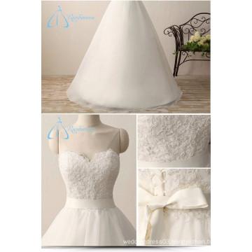 Bandage Bow Sash Lace Appliques A-Line Romantic Angel Wedding Dress