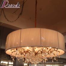 Lampe pendante en cristal décorative d'hôtel européen avec l'ombre de tissu