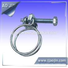 Galvanized steel double wires hose clamp\Galvanized steel Wire hose clamp