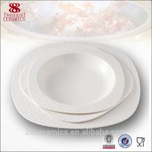 Vaisselle royale pour hôtel, assiette carrée en porcelaine blanche en porcelaine blanche