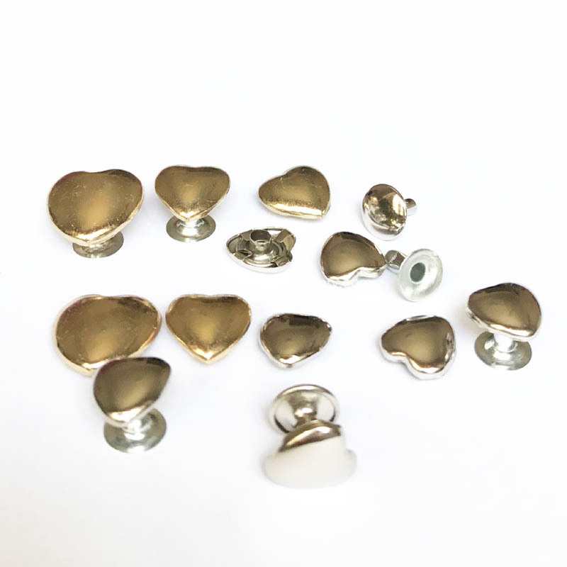 Silver Brass Heart Rivets for Leathercrafts