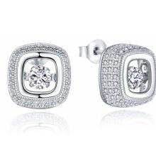 925 Silver Stud Dancing Diamond Earring com Jóia CZ