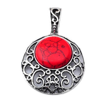 Red Turquoise 20MM Cabochon Alloy Gemstone Pendant