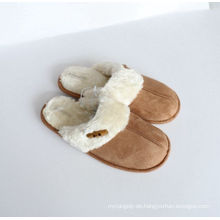 Damen-Indoor-Slipper mit Microfaser und Set-Button