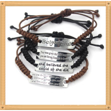 Customized Adjustable Engraved Letter Wax Rope Handmade Woven Bracelets