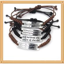 Personalizado ajustável gravado letter wax corda handmade tecido pulseiras