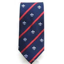 Soie faite sur commande avec la cravate faite main d'école tissée par jacquard faite main de logo