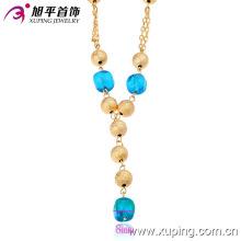 42426 bijoux en or brésiliens en gros de mode 18k bleu perle en or en alliage de cuivre bijoux collier