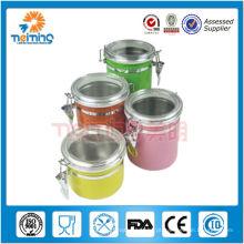 vasilha de café de açúcar de chá de aço inoxidável hermético colorido