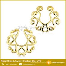 Anillo de piercing plateado oro modificado para requisitos particulares del pezón de la aleación del cinc del tamaño 18k