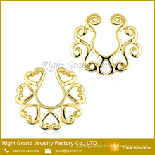 Customized Size 18k Gold Plated Zinc Alloy Nipple Piercing Ring