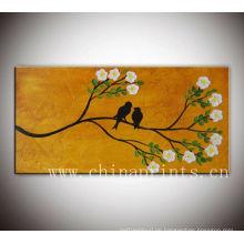 Angezogene abstrakte Diy Vögel Ölgemälde für Verkäufe