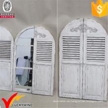 Espejo de madera de la ventana del obturador arqueado del estilo de Ecorative de la vendimia