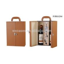 caja de vino de cuero de alta calidad para 2 botellas del fabricante profesional
