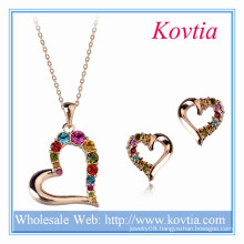 New Arrival Italina Colourful Crystal Diamond Heart Shape Jewelry Set For Wedding