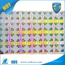 Tamper evidente Design personalizado etiqueta dourada de holograma de prata Etiqueta de etiqueta de segurança para proteção de patente de marca