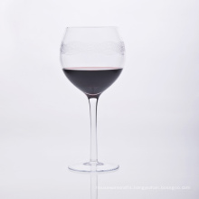 Mouth Blown Stem Wine Glass with Wave Line Printing