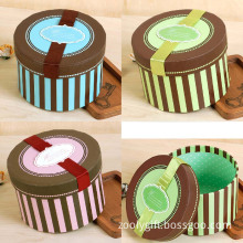 Exquisite Printing Round Paper Boxes with Tag and Ribbon
