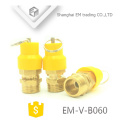 EM-V-B060 Yellow plastic hat Professional brass safety valve for air compressor pressure relief valve