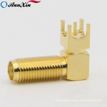 SMA Connector Female Right Angle 90 Degree Bulkhead For PCB