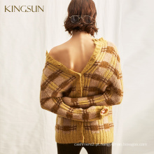Camisolas de moda para mulheres, Camisolas de lã em volta do pescoço, estilo oversky Slouchy