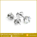 4mm 5mm 6mm 316L Stainless Steel Prong Set Round Cubic Zirconia Earring Studs