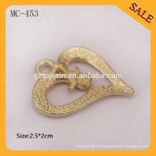 MC453 Herzform benutzerdefinierte Designer Kleidungsstück Metall Hang Tag