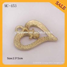 MC453 Сердце формы пользовательских дизайнер одежды металла повесить бирку