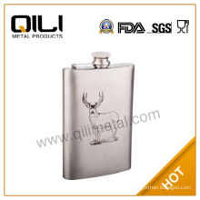 FDA 6oz stainless steel silk-screen alcohol ballantine english pewter hip flask