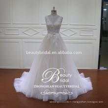 La plus nouvelle conception de robes de mode de voir à travers la robe de mariée sirène avec une couleur légère de champagne