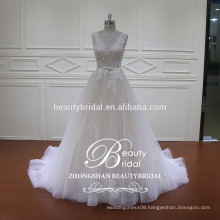 newest fashion gowns design of see through mermaid wedding dress with light champagne color